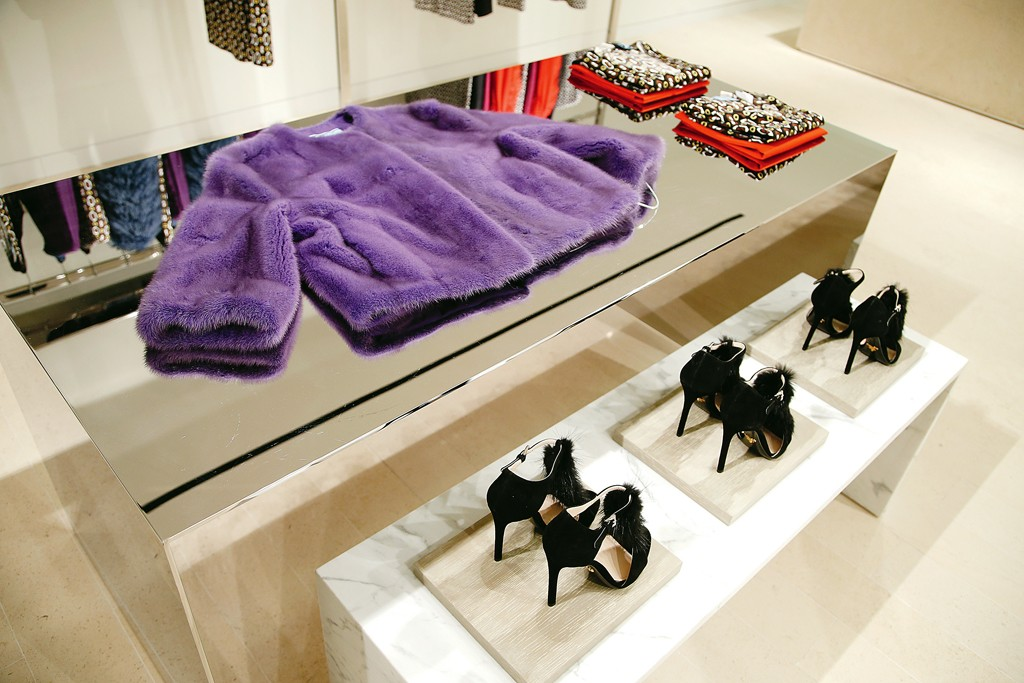 "Prada's Barneys Shop-In-Shop, Image via <a href=""http://www.wwd.com/fashion-news/fashion-features/bridget-foleys-diary-prada-at-barneys-thinking-chic-7808510/slideshow#/slideshow/article/7808510/7808715"">WWD</a>"