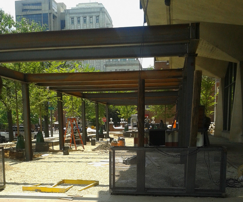 A view through the planned entrance to Independence Beer Garden, shot Tuesday, shows plenty of work yet to be done.