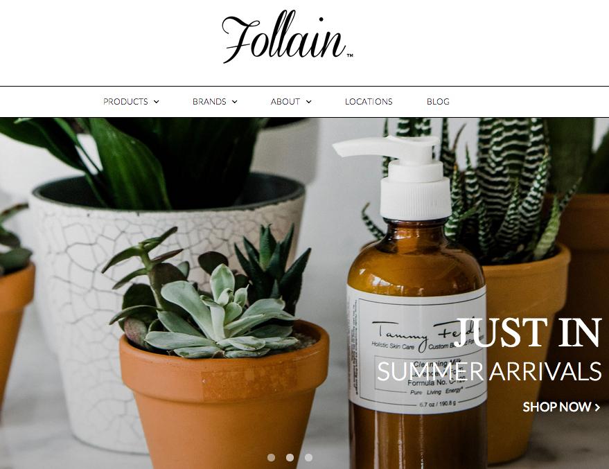 Screenshot of Follain's new e-commerce site