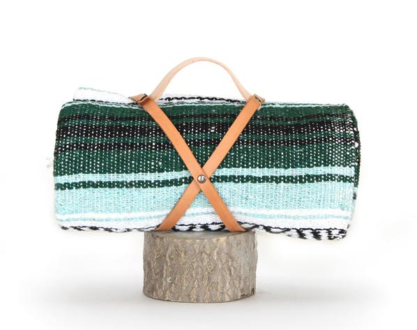"Nipomo Blanket Roll, <a href=""http://hellonipomo.com/shop/blanket-roll-mint-green"">$56</a>"
