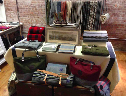 The Faribault Woolen Mills booth at December's flea; they'll be back this weekend