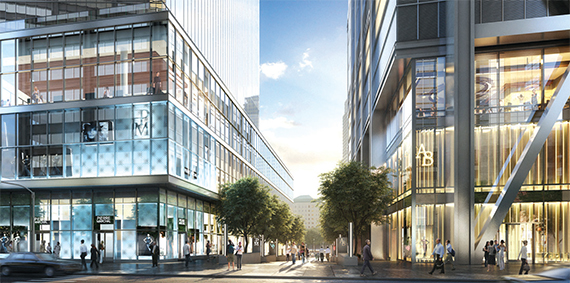 """A new rendering of the ground-level retail at 4 WTC (left) and 3 WTC; Image via <a href=""""http://therealdeal.com/issues_articles/world-trade-centers-retail-lineup-revealed/"""">The Real Deal</a>"""