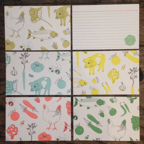 """Farm &amp; Fable recipe cards, <a href=""""http://farmandfable.com/collections/branded-items-1/products/farm-fable-recipe-cards"""">$8</a>"""