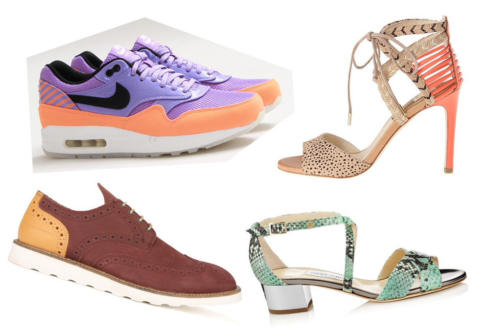 """Clockwise from top left: Nike sneakers (<a href=""""http://shop.cncpts.com/products/nike-air-max-1-fb-premium-qs-atomic-violet-black"""">$130</a>) at Concepts; Dolce Vita shoes ($179) at Moxie; Jimmy Choo sandal (<a href=""""http://us.jimmychoo.com/en/women/"""