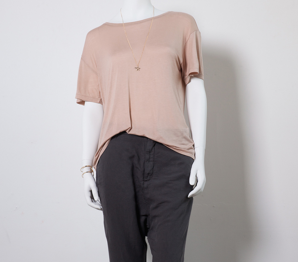 """Base Range Loose Tee in Nude, <a href=""""http://covetandlou.com/collections/base-range/products/base-range-loose-tee-in-nude"""">$65</a>"""