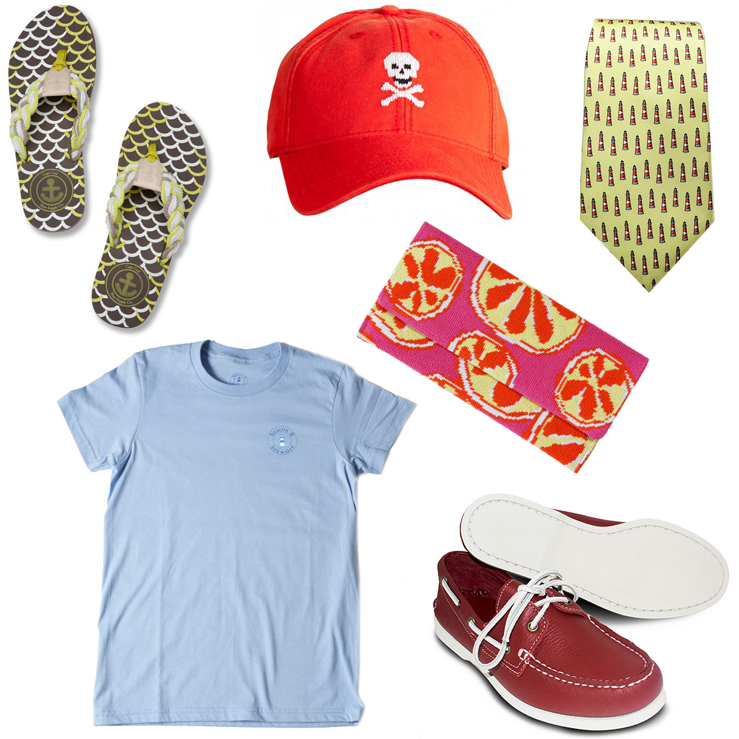 """Clockwise from top left: Cape Cod Shoe Supply Co. flip flops, <a href=""""https://cape-cod-shoe-supply.myshopify.com/collections/frontpage/products/women-s-mainsail-mermaid"""">$39.50</a><a>; Harding-Lane hat, </a><a href=""""http://harding-lane.com/shop/17-"""