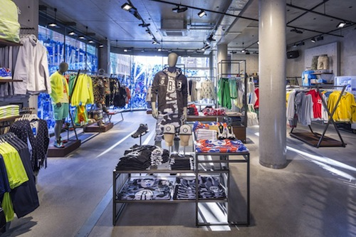 """Inside the Adidas Originals in Berlin—notice the Brooklyn Nets display? Photo via <a href=""""http://www.wwd.com/retail-news/specialty-stores/adidas-unveils-new-concept-originals-store-7624022"""">WWD</a>"""