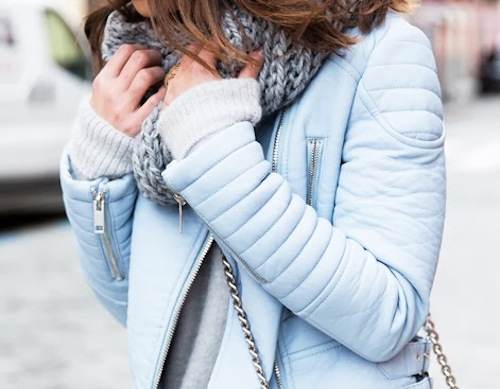 """Photo by <a href=""""http://lifeisroyalty.blogspot.com/2014/02/that-jacket.html"""">Life Is Royalty</a>; Featured: Zara pastel coloured faux leather zip jacket, <a href=""""http://www.zara.com/us/en/woman/outerwear/jackets/pastel-coloured-faux-leather-zip-ja"""