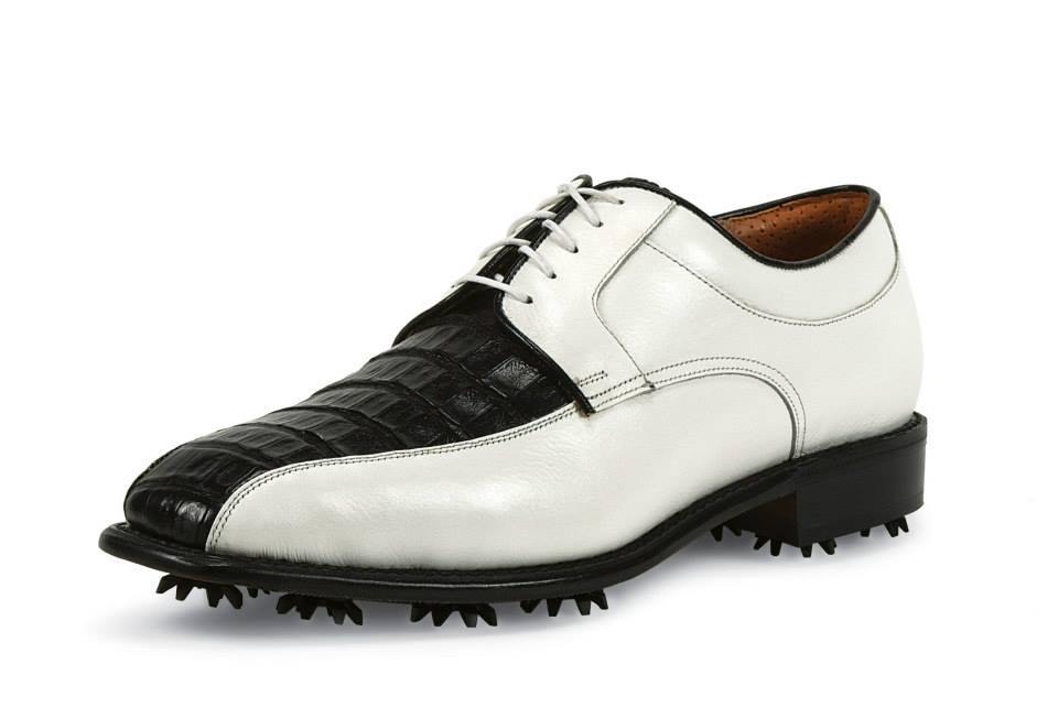 The Black Caiman/Classic White leather square-toe golf shoe ($550) of your dad's dreams. Image via Justin Golf/Facebook