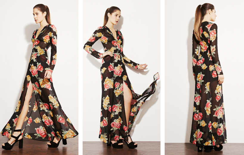 "Vigne Dress, <a href=""http://thereformation.com/VIGNE-DRESS-BLACKFLORAL.html"">Reformation</a>, $274"