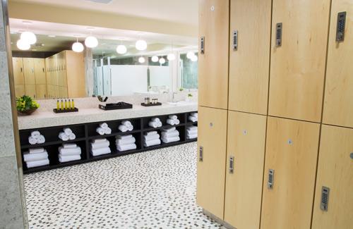 The locker room at the Joule's new exercise studio, VITAL. Image via VITAL