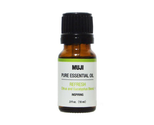"""<a href=""""http://www.muji.us/store/fragrances/aroma/new-pure-essential-oil-refresh.html"""">'Refresh' Pure Essential Oil</a>, $12.95 at Muji"""