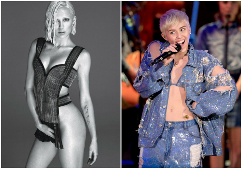 Left: Allegedly Miley Cyrus, in W. Right: Definitely Miley Cyrus, image via Getty.