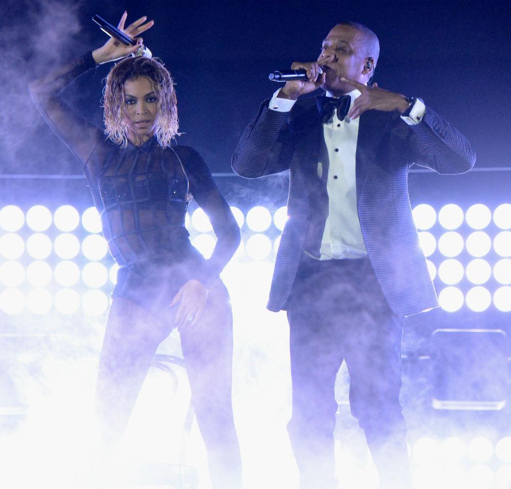 Beyoncé performing at last night's Grammy Awards. Photo via Getty.