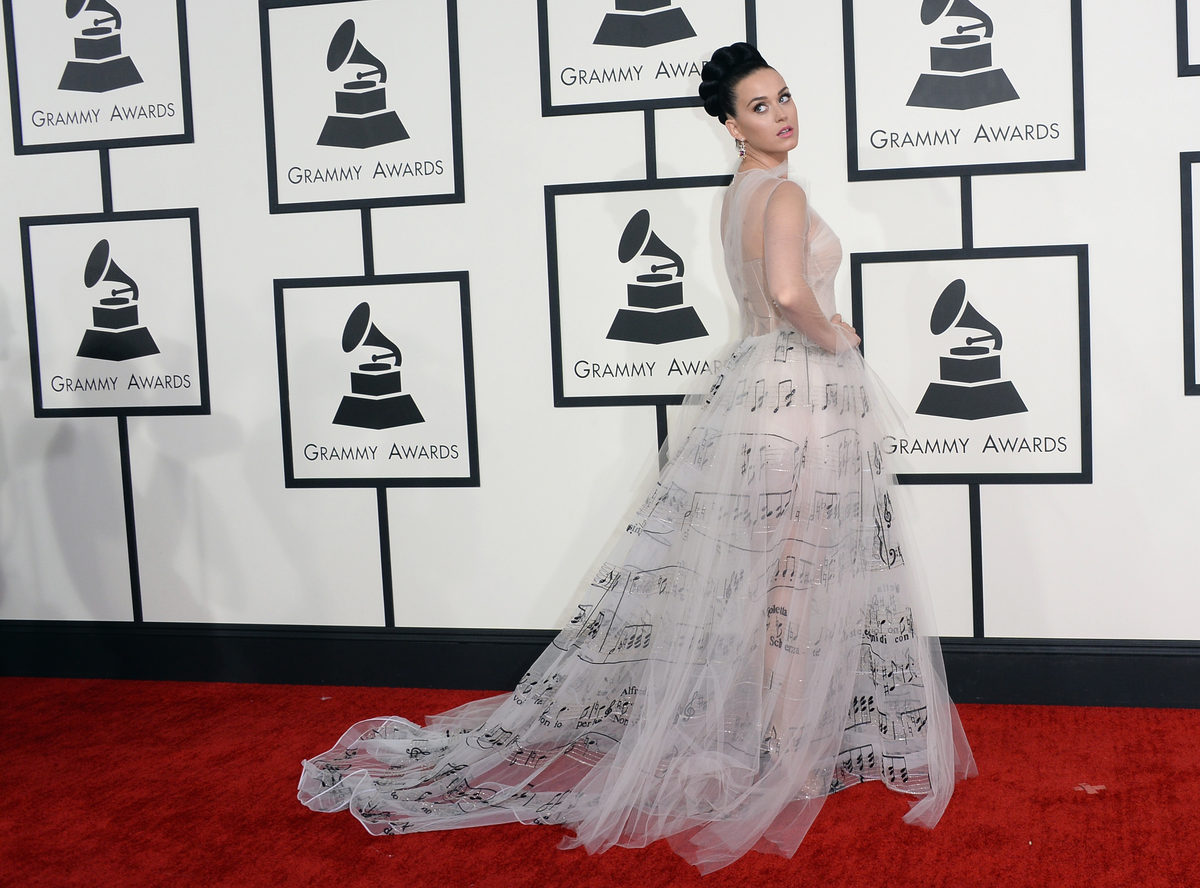 Katy Perry in Valentino. Images via Getty.