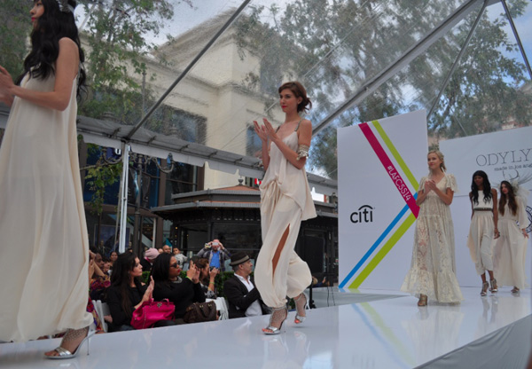 """Odylyne's Spring 2014 runway show at The Grove. Image <a href=""""http://la.racked.com/archives/2013/10/10/odylyne_presents_mystical_bohemian_hippie_at_the_grove.php"""">via</a>"""