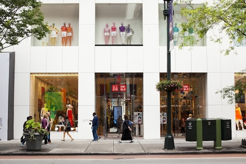 """A Uniqlo store in New York; Photo by Brian Harkin for <a href=""""http://ny.racked.com/archives/2013/07/11/uniqlo_will_open_in_brooklyn_and_staten_island.php"""">Racked NY</a>"""