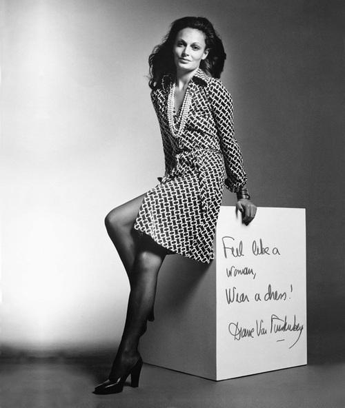Diane von Furstenberg's first ad campaign for her wrap dress, shot by Roger Prigent in 1970