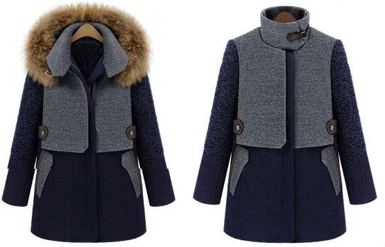 "Blue contrast grey panel detachable fur hood <a href=""http://www.sheinside.com/Blue-Contrast-Grey-Panel-Detachable-Fur-Hood-Wool-Blend-Coat-p-147004-cat-1735.html#box-review"">wool-blend coat</a>, $47.22 at SheInside.com."