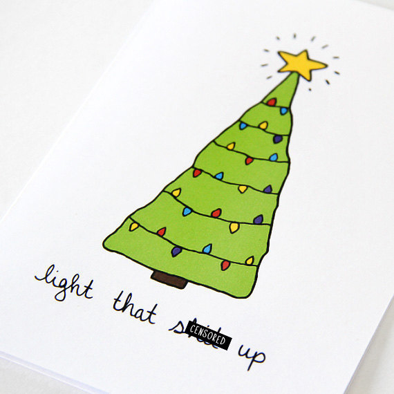 """Holiday card by Julie Ann Art, <a href=""""https://www.etsy.com/listing/113598394/funny-christmas-card-green-christmas?ref=shop_home_active"""">$4</a> at Etsy"""