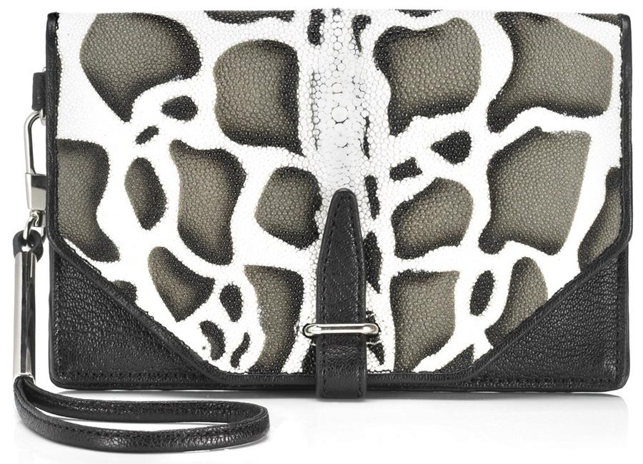 "Image via <a href=""http://www.lyst.com/bags/31-phillip-lim-giraffe-stingray-31-second-clutch-black/"">Lyst</a>"