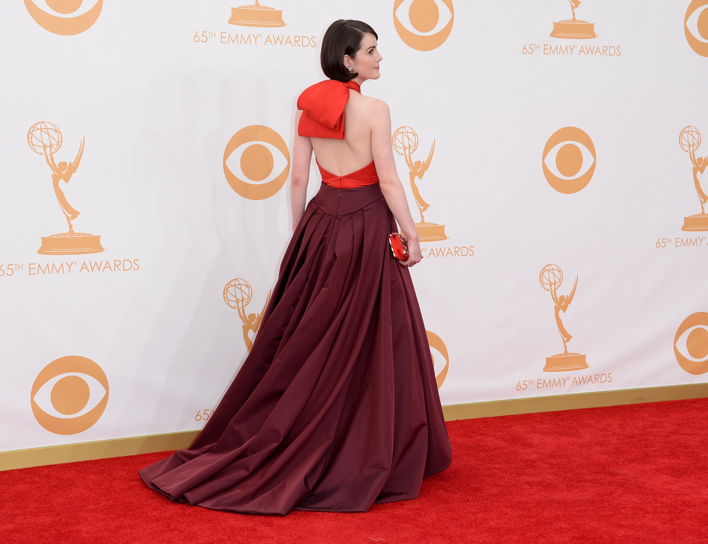 Michelle Dockery's arrival (see the front of the dress in the gallery below!) via Getty