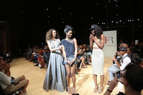 Designer Kimberly Goldson with models on final walk. Photo via Paula Rosado PR.