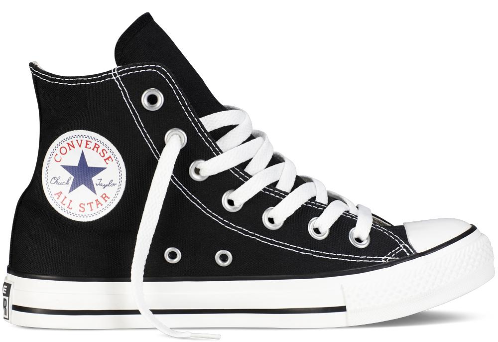 "Converse High Top Chuck Taylor, <a href=""http://www.converse.com/regular/chuck-taylor-classic-colors/MP_50.html?dwvar_MP__50_color=black&amp;dwvar_MP__50_size=035"">$55</a>"