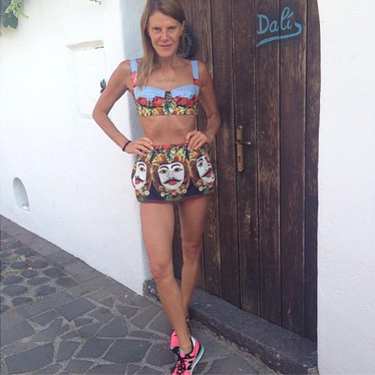 Anna Dello Russo Dons Dolce & Gabbana, Sneakers to Jog