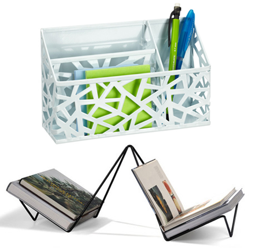 """Top: The Container Store Network Magnetic Divided Bin, <a href=""""http://www.containerstore.com/shop/office/desktopCollections/blackWhite?productId=10033138&amp;N=81161"""">$9.99</a>; Bottom: Studio Macura LAKO Book Rack at Room 68, <a href=""""http://www.r"""