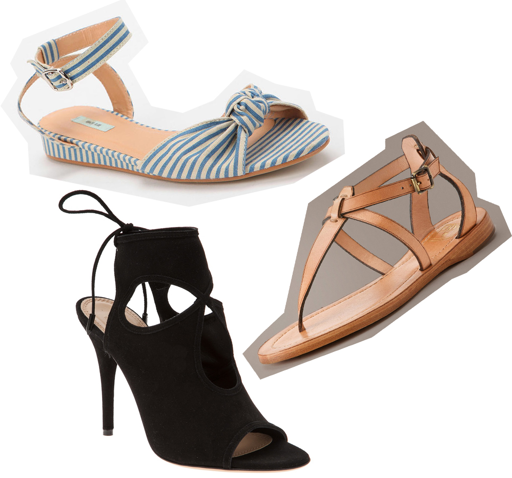 """Clockwise from top left: Kimchi Blue Pinup Mini-Wedge at UO, <a href=""""http://www.urbanoutfitters.com/urban/catalog/productdetail.jsp?id=27304195"""">$39</a>; Rachel T Sandal by Frye, <a href=""""http://www.thefryecompany.com/womens-shoes/view-all/72559/ra"""