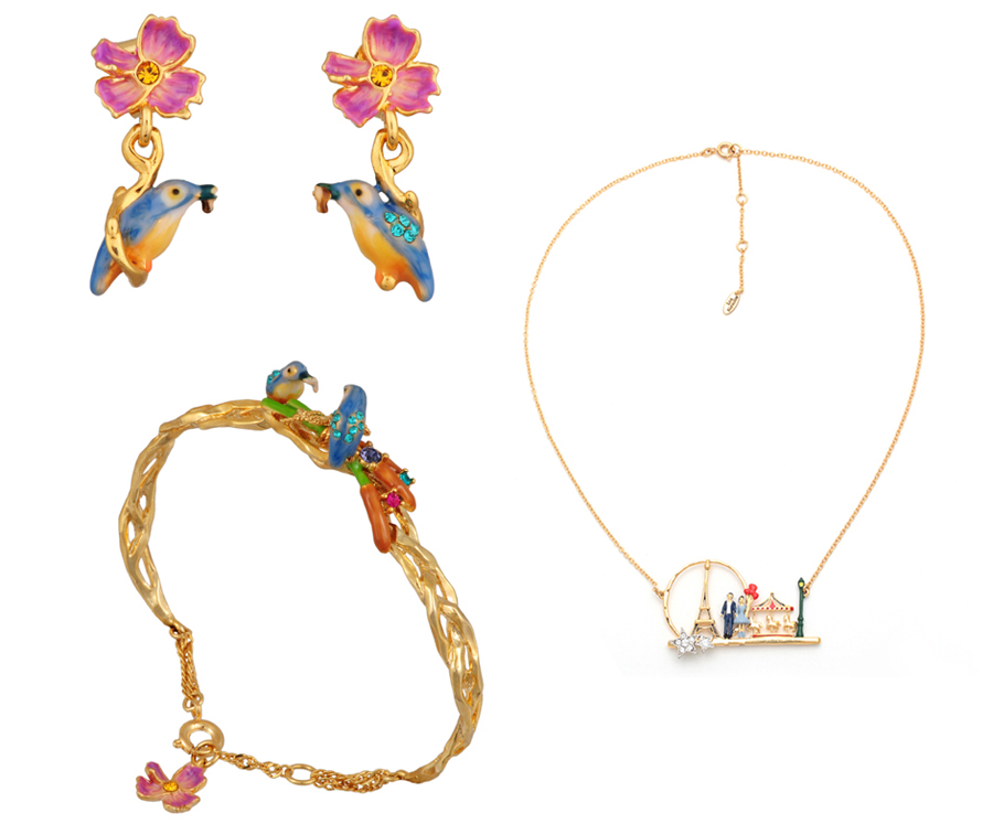 "Les Néréides: Bo Martin Pecheur Emaille (earrings), <a href=""http://mflynnjewelry.com/martin-pecheur-emaille/p/23991/ac/d/?action=d&amp;cPath=128"">$93.60</a>; Collier Paris Carte Postale Multicolour (necklace), <a href=""http://mflynnjewelry.com/coll"