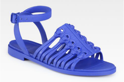 """<b>Givenchy</b> Jelly Ankle Strap Sandals in Blue, <a href=""""http://www.saksfifthavenue.com/main/ProductDetail.jsp?PRODUCT%3C%3Eprd_id=845524446552111&amp;R=884312130071&amp;P_name=Givenchy&amp;sid=13F60AA04820&amp;Ntt=jellies&amp;N=0&amp;bmUID=jZykH"""