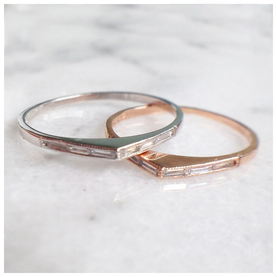 """Rings by Claire Kinder from <a href=""""http://fiatluxsf.com"""">Fiat Lux</a>—thin baguette diamond bateau in 14k yellow, rose or white gold with six baguette diamonds set along the tips of the pointed ring, $980"""