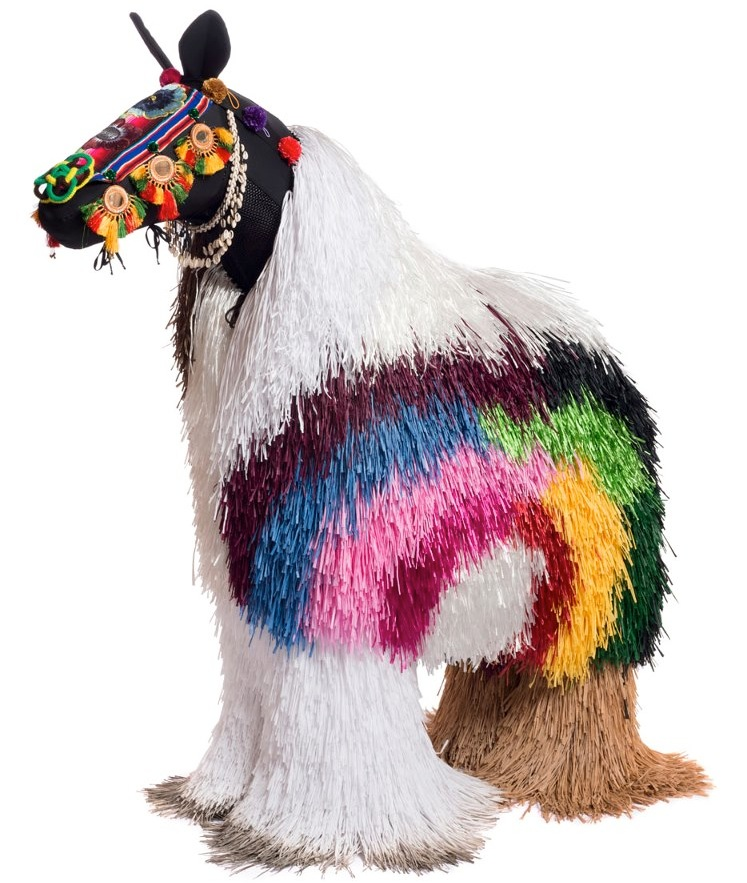 """A rainbow Soundsuit horse via <a href=""""http://www.facebook.com/pages/Nick-Cave-Visual-Artist/299253877181"""">Nick Cave</a> on Facebook"""