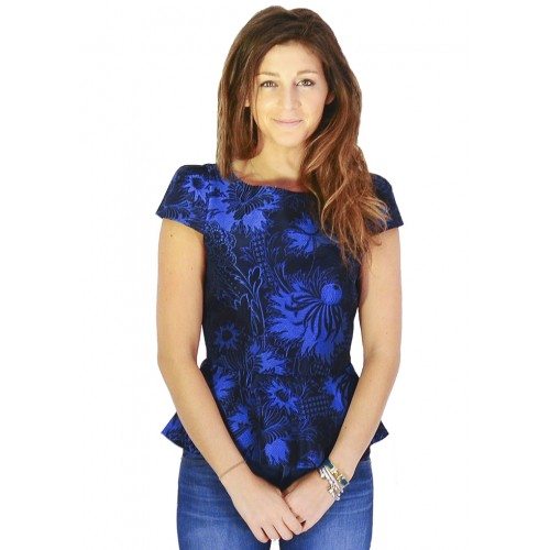 """<strong>Alice + Olivia</strong> Lorelle Brocade top, combining peplum and print trends, via <a href=""""http://www.shopcrushboutique.com/apparel/tops/alice-and-olivia-lorelle-cap-sleeve-peplum-top-in-blue-brocade.html#"""">Crush</a>"""