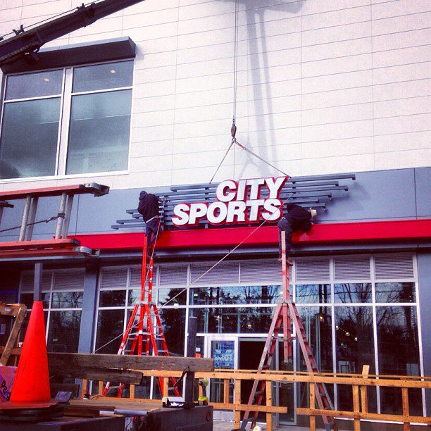 Finishing touches on the spaces, courtesy City Sports