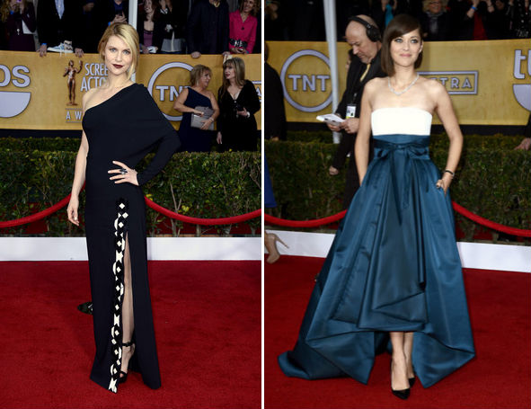 Claire Danes in Givenchy and Marion Cotillard in Dior. Photos via Getty.