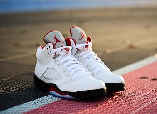 """Photo: <a href=""""http://sneakerbardetroit.com/2013/01/air-jordan-5-retro-fire-red-arriving-to-retailers/"""">SBDetroit</a>"""