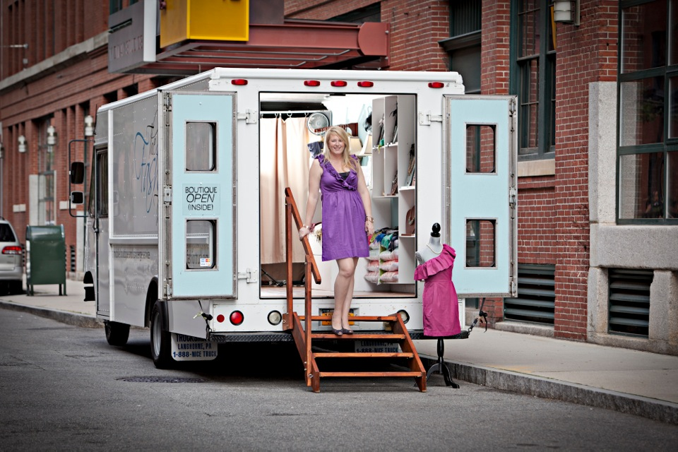 """Owner Emily with her original truck, via <a href=""""https://www.facebook.com/TheFashionTruck"""">The Fashion Truck</a>/Facebook"""