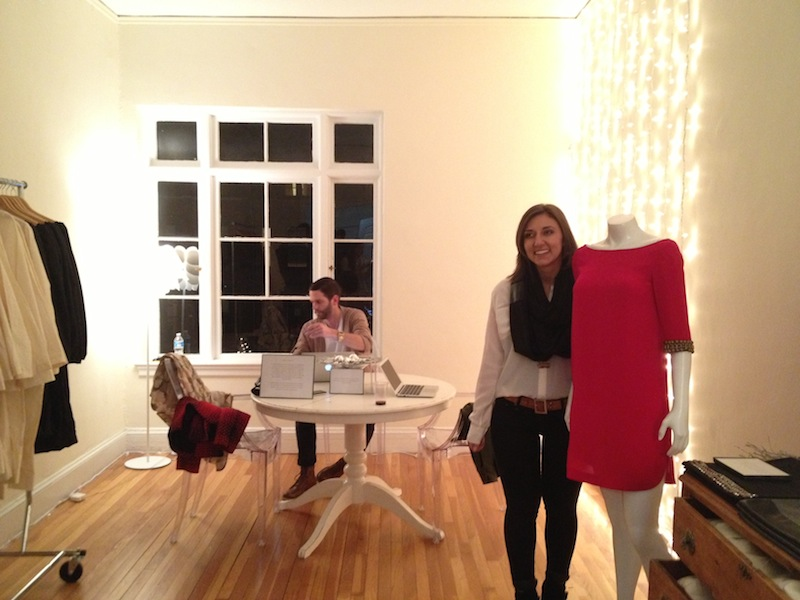 """Bow and Drape founder Aubrie Pagano with a mannequin wearing her """"Twiggy"""" dress silhouette."""