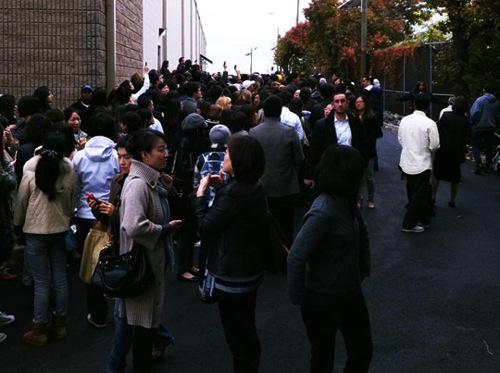"Last year's crowd, presumably before the alleged fist-fight. Image via <a href=""http://www.mizhattan.com/2011/11/arrests-made-at-salvatore-ferragamo.html"">Mizhattan</a>"