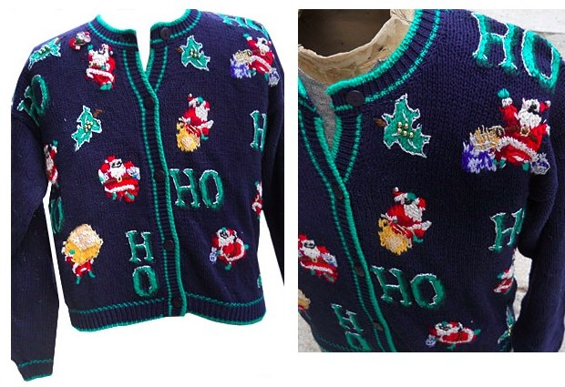 Ho-ho-horribly ugly Christmas sweaters are in stock at Sazz. Image credit: Sazz Vintage