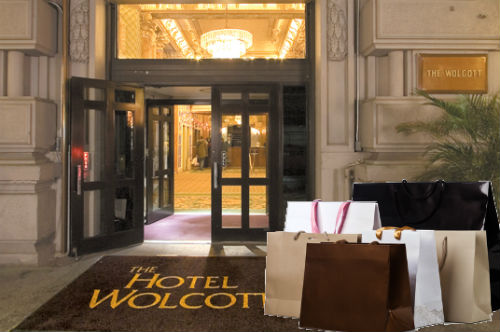 """Hotel Wolcott image via <a href=""""http://www.nstgroup.co.uk/tour/history-in-new-york-political-history-civil-rights/"""">NST</a>, shopping bags via <a href=""""http://www.shutterstock.com/cat.mhtml?searchterm=shopping+bags&amp;search_group=&amp;lang=en&amp"""