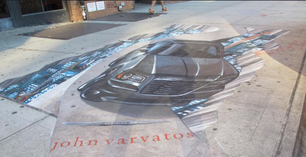 """Image via <a href=""""http://www.boweryboogie.com/2012/09/stenciled-advert-on-the-bowery-of-limited-edition-varvatos-chrysler/"""">Bowery Boogie</a>"""