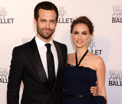 Benjamin Millepied and his wife, actress Natalie Portman, at the New York City Ballet's 2012 Spring Gala. Photo via Getty.