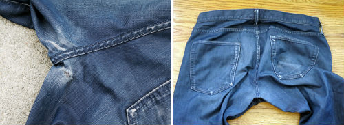 """A before-and-after of Denim Doctors rehabbed jeans. Photo via <a href=""""http://www.laimyours.com/20576/an-appointment-with-the-htc-denim-doctors/"""">LA, I'm Yours</a>."""