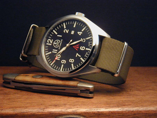 "O&amp;W pilot watch, $358 at <a href=""http://www.westcoastime.com/new30ovowpil1.html"">WestCoasTime</a>"
