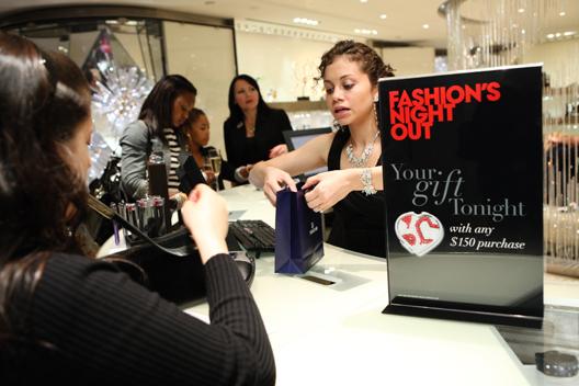 Shopping at Swarovski on FNO. Image via Getty.