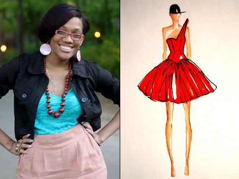 """Imani Whyte with a sketch from ImaniLia via the <a href=""""http://www.nydailynews.com/lifestyle/fashion/2011/05/15/2011-05-15_harlems_fashion_row_selects_six_africanamerican_designer_finalists_to_compete_fo.html?page=1%22"""">NY Daily News</a>"""